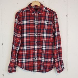 AEO Prep Fit S Red/white/blue plaid flannel